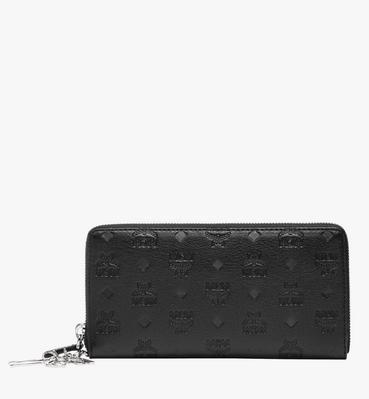 Zip Around Wallet in Monogram Leather Charm