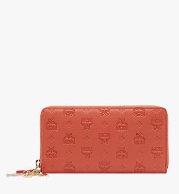 Zip Around Wallet in Monogram Leather Charm