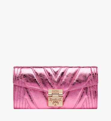 Patricia Crossbody Wallet in Quilted Metallic Leat