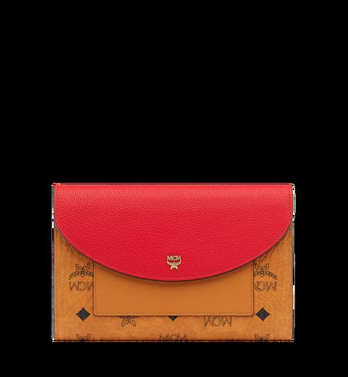 กระเป๋าสตางค์แบบมีฝาปิดพร้อมกระเป๋าเพาช์ ลาย Visetos สีคัลเลอร์บล็อก