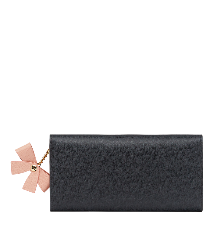 MCM Mina Bow Charm Three Fold Wallet in Leather Grey MYL8SLL93EP001 Alternate View 3