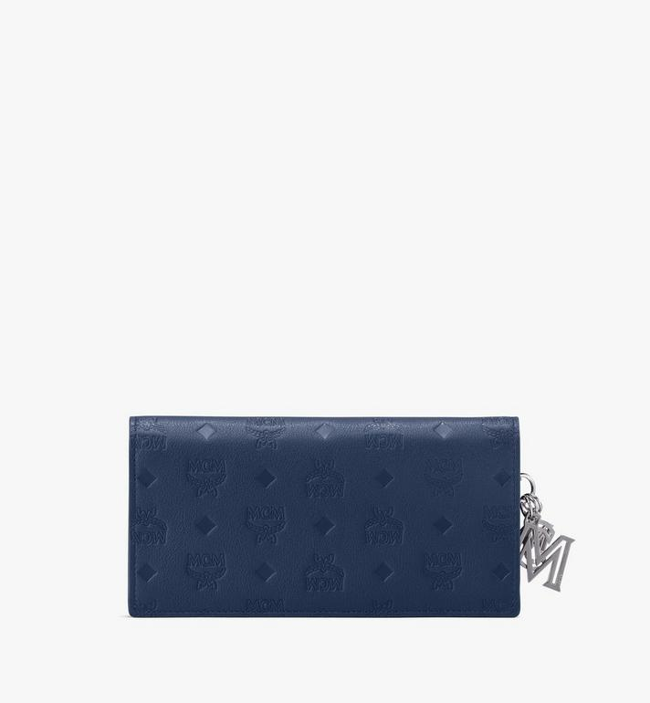 MCM Klara Two-Fold Wallet in Monogram Leather Blue MYL9AKM12VA001 Alternate View 2