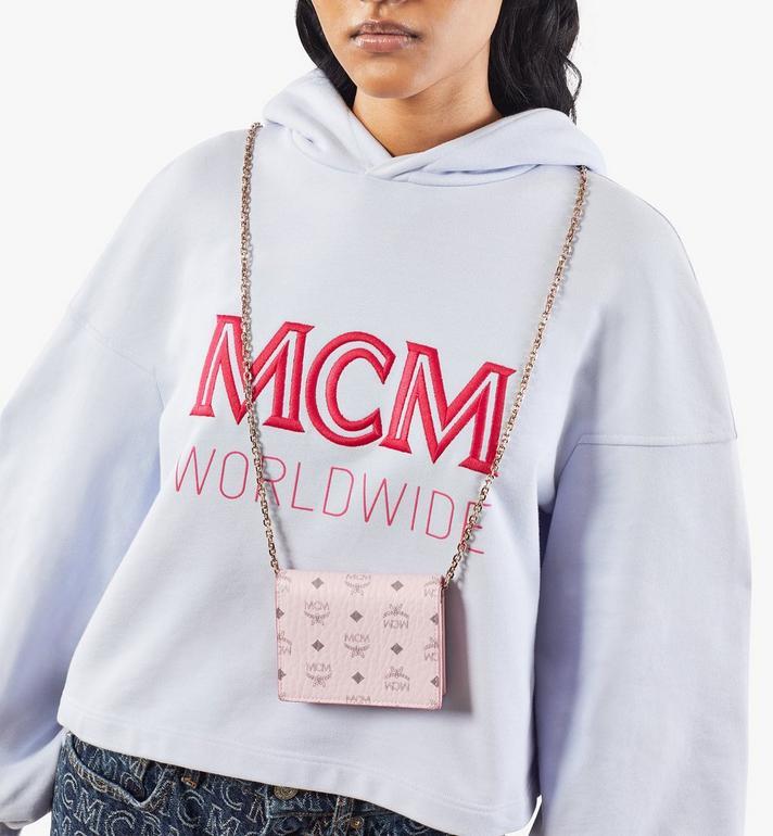 MCM Flache Crossbody-Brieftasche für Karten in Visetos Original Pink MYLAAVI02QH001 Alternate View 5