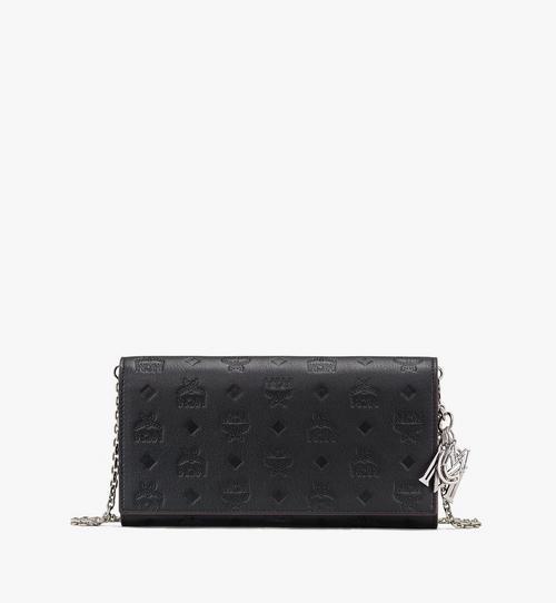 Klara Brieftasche aus Leder mit Monogramm und Kette