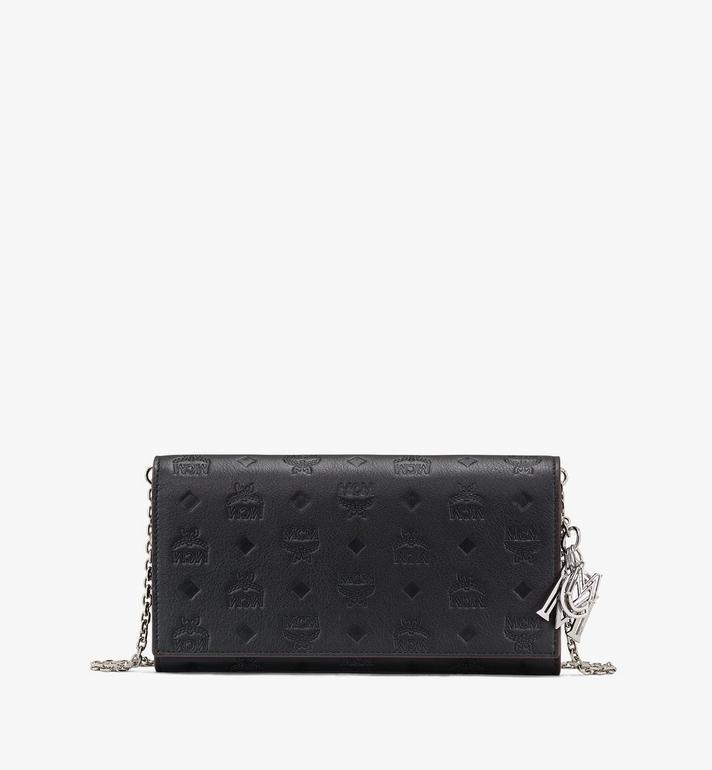 MCM Klara Brieftasche aus Leder mit Monogramm und Kette Alternate View