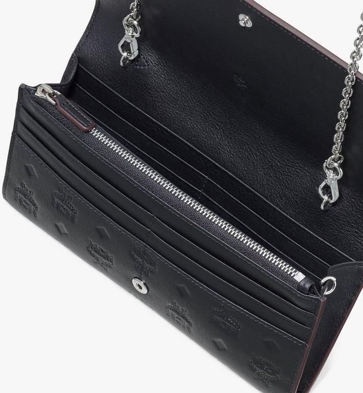 MCM Klara Brieftasche aus Leder mit Monogramm und Kette Black MYLASKM01BK001 Alternate View 3