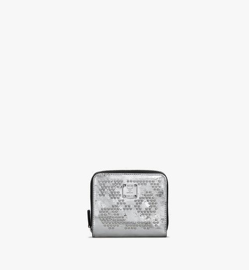 Brieftasche aus Metallic-Leder mit Reissverschluss, Leopardenmuster und Nieten