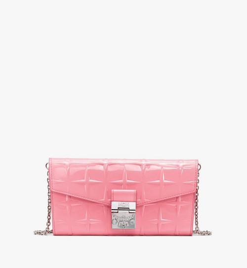 Patricia Crossbody-Brieftasche aus Lackleder mit Rautenmuster