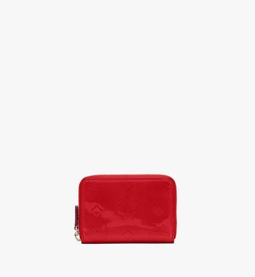 Mini-Brieftasche aus Metallic-Leder mit Monogramm und Reissverschluss