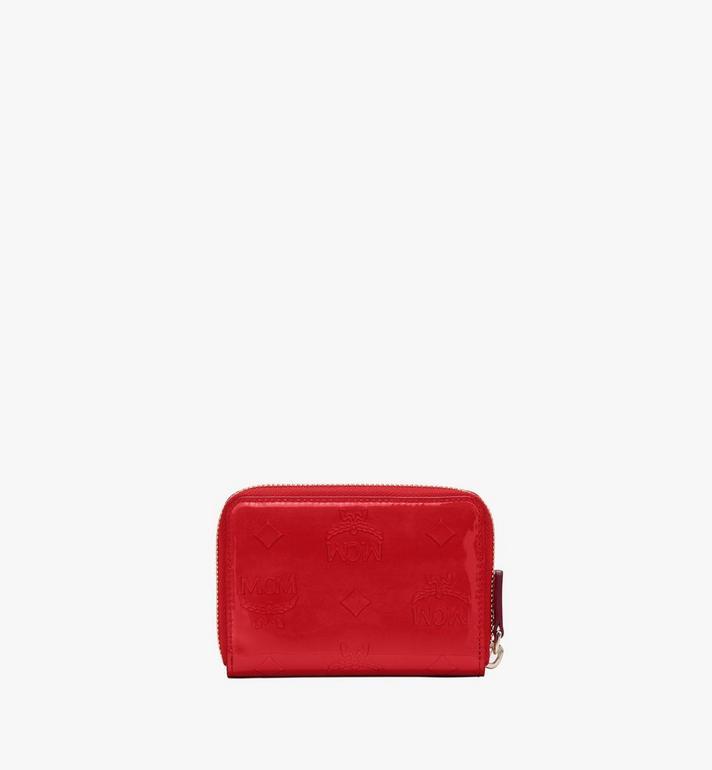 MCM Mini Zip Wallet in Metallic Monogram Leather Red MYLASPM02R4001 Alternate View 2