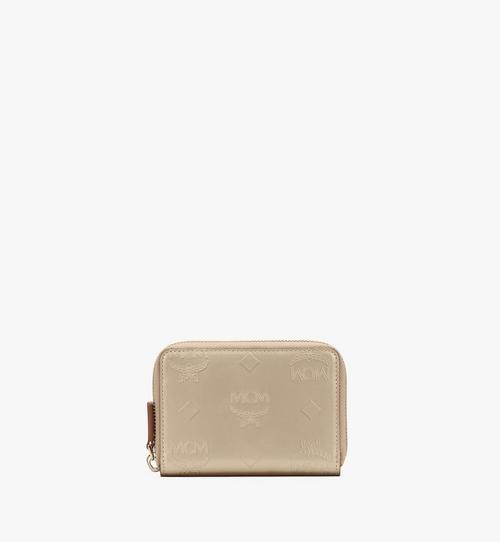 Mini Zip Wallet in Metallic Monogram Leather