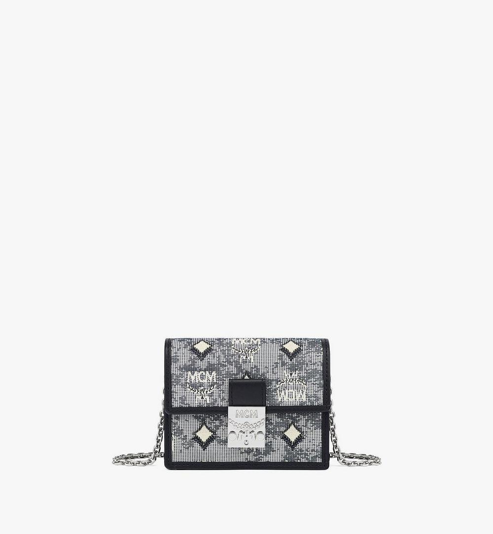 กระเป๋าสตางค์สายโซ่ผ้าแจ็คการ์ดลายโมโนแกรมวินเทจ 1