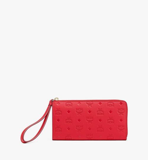 Klara Brieftasche aus Leder mit Monogramm mit Rundum-Reissverschluss