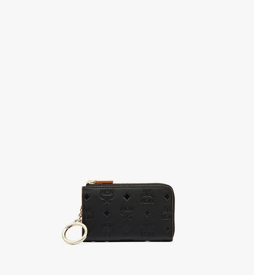 Porte-cartes zippé Klara en cuir monogrammé
