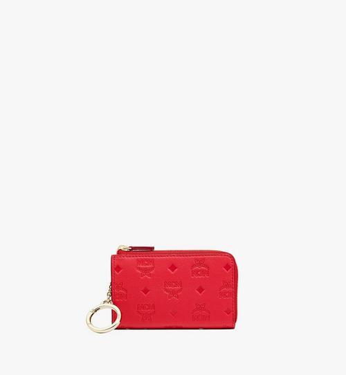 Klara 縮寫字母皮革拉鏈卡夾錢包