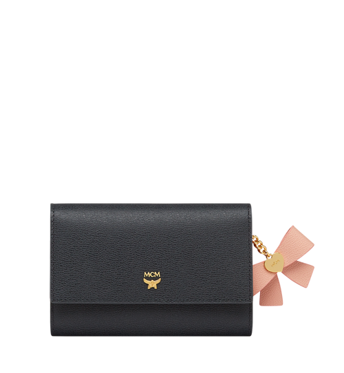 Mina Bow Charm Three Fold Wallet in Leather