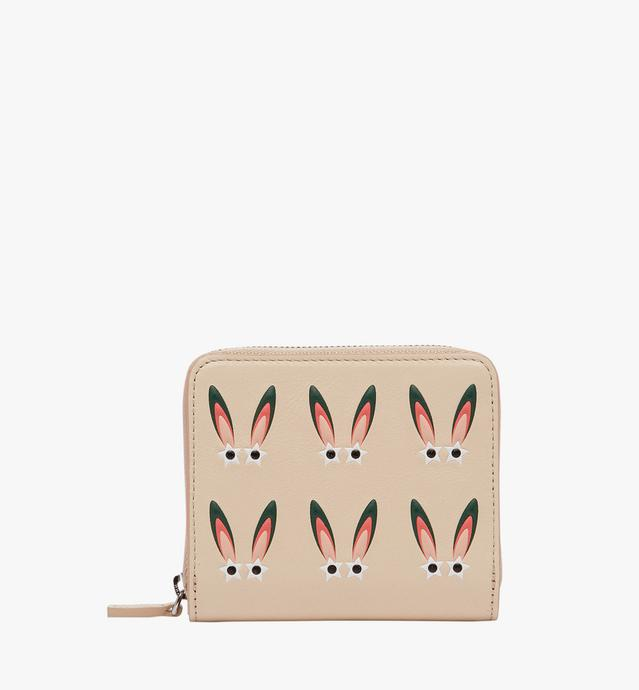 幻想兔皮革全拉链钱包