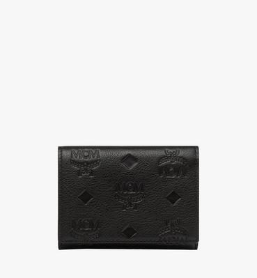Klara dreifach gefaltete Kleingeldbörse aus Leder mit Monogramm