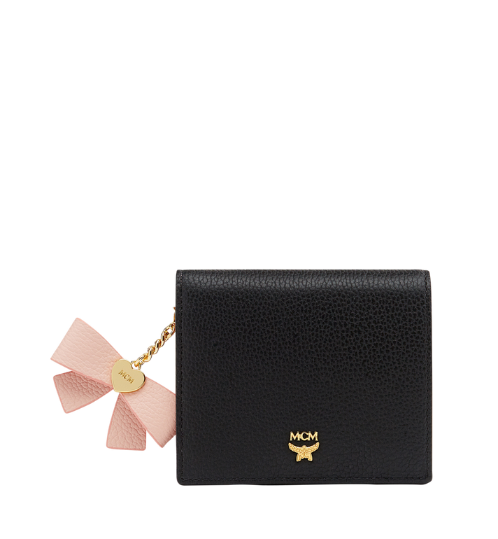 MCM Mina Bow Charm gefaltete Brieftasche aus Leder Black MYS8SLL70BK001 Alternate View 1
