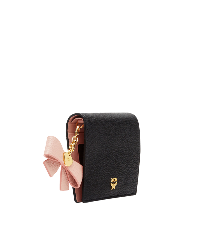 MCM Mina Bow Charm Two Fold Wallet in Leather Black MYS8SLL70BK001 Alternate View 2