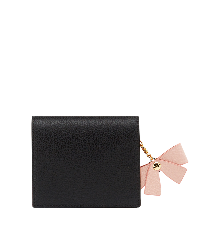 MCM Mina Bow Charm Two Fold Wallet in Leather Black MYS8SLL70BK001 Alternate View 3