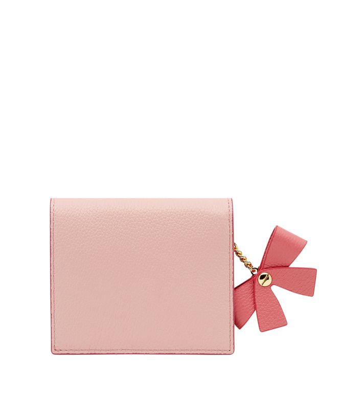 MCM Mina Bow Charm Two Fold Wallet in Leather Pink MYS8SLL70PV001 Alternate View 3