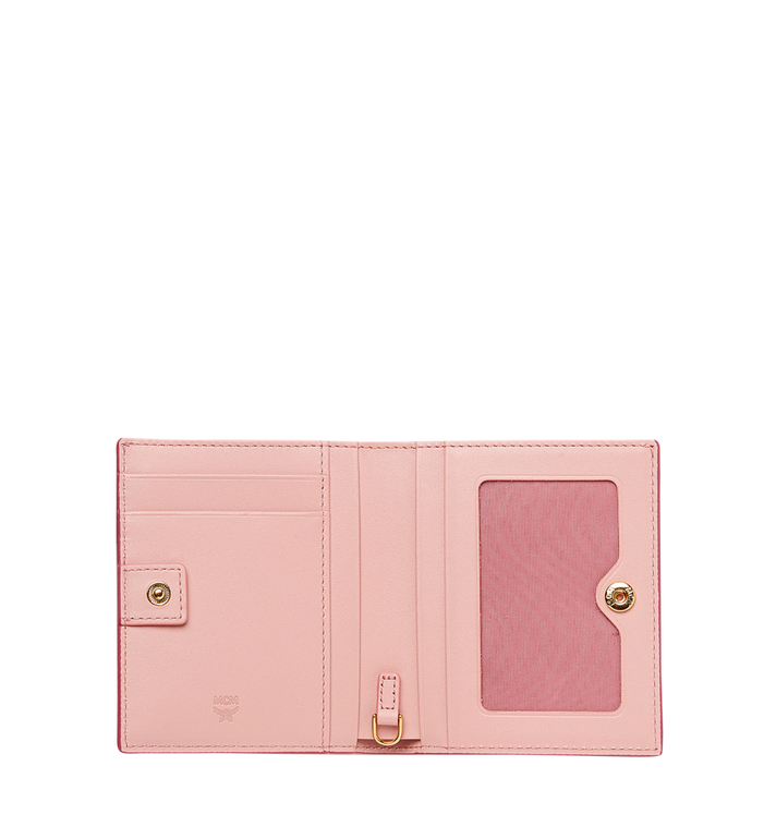 MCM Mina Bow Charm Two Fold Wallet in Leather Pink MYS8SLL70PV001 Alternate View 4