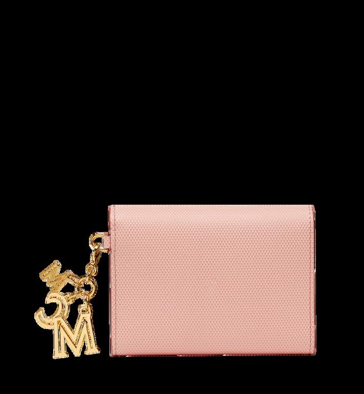 MCM Otti Charm Three Fold Wallet in Leather Pink MYS8SOI15PK001 Alternate View 3