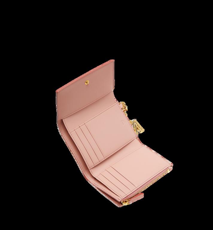 MCM Otti Charm Three Fold Wallet in Leather Pink MYS8SOI15PK001 Alternate View 4