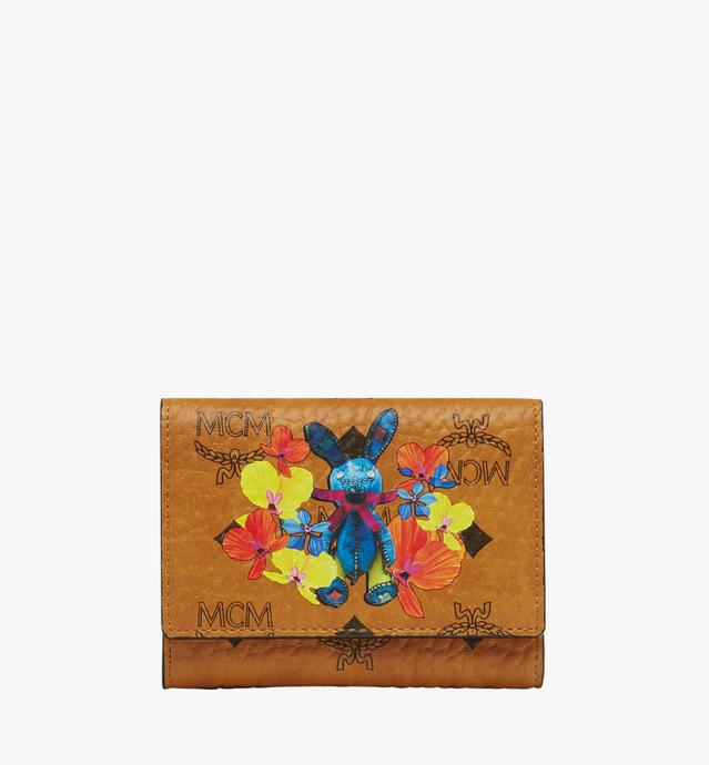Rabbit Three Fold Wallet in Floral Visetos