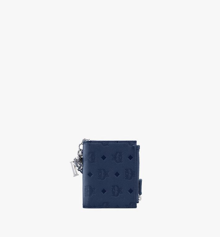 MCM Klara Two-Fold Wallet in Monogram Leather Blue MYS9AKM13VA001 Alternate View 2