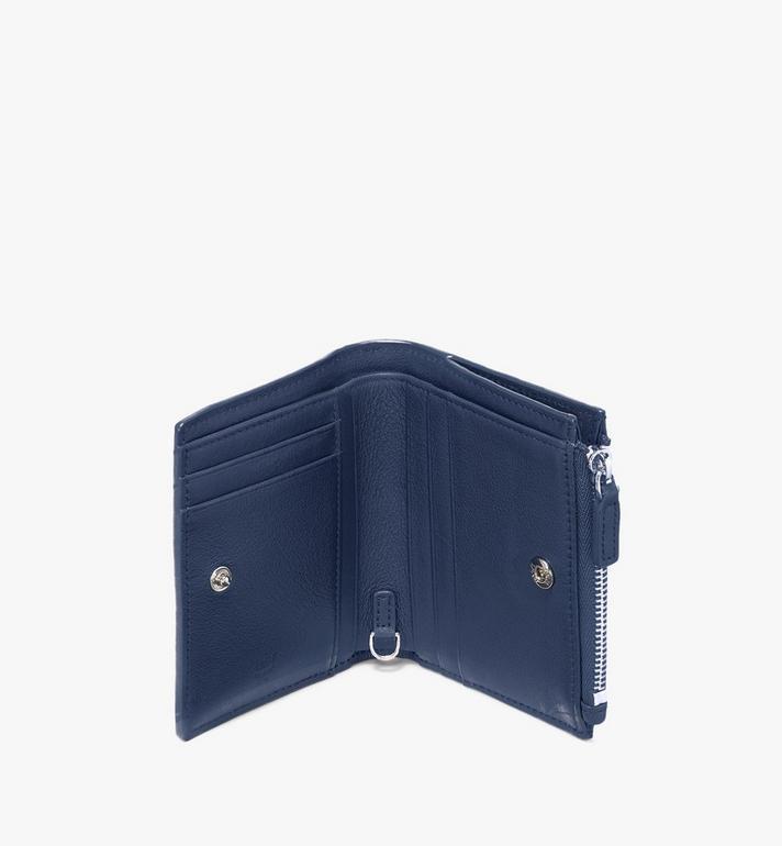 MCM Klara Two-Fold Wallet in Monogram Leather Blue MYS9AKM13VA001 Alternate View 3