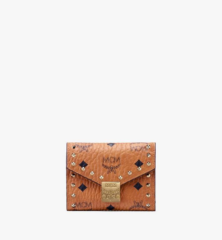 MCM Studded Visetos 系列的 Patricia 三折式錢包 Cognac MYS9APA31CO001 Alternate View 1