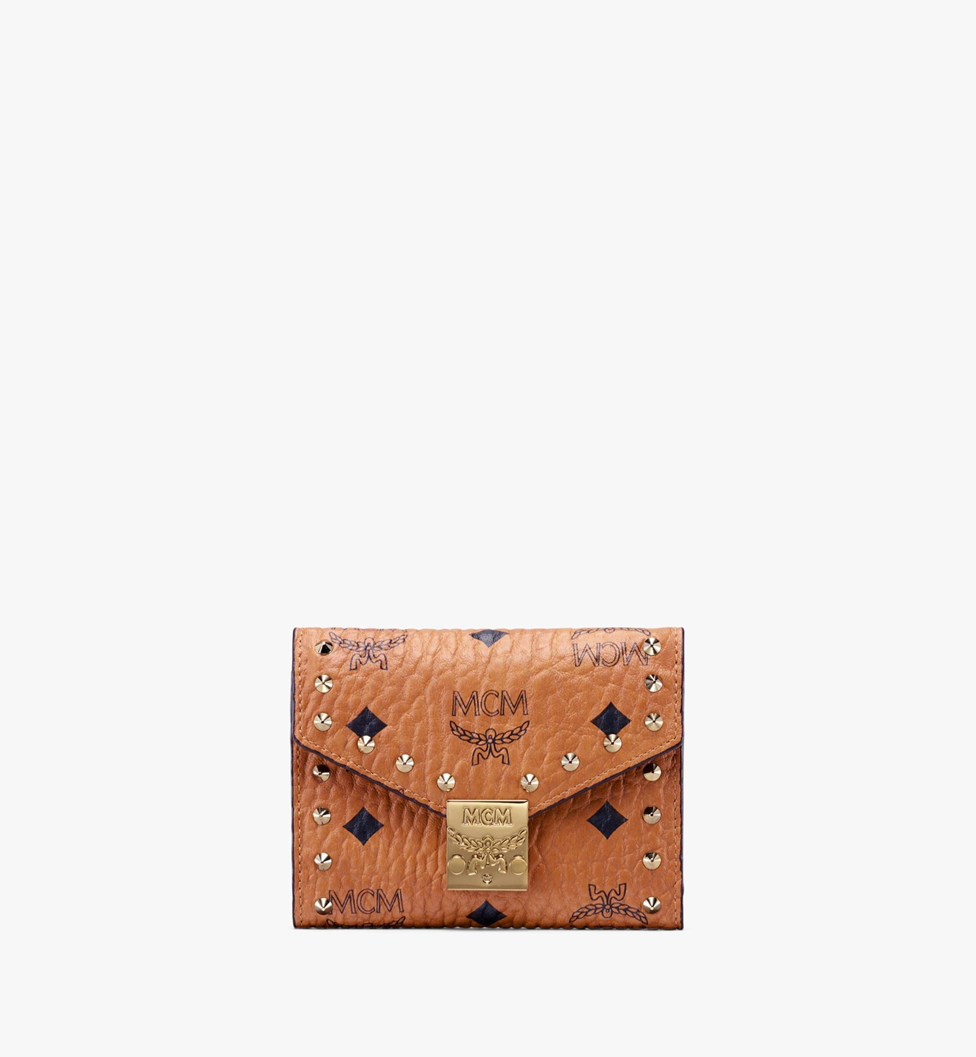 MCM Studded Visetos 系列的 Patricia 三折式錢包 Cognac MYS9APA31CO001 Alternate View 1