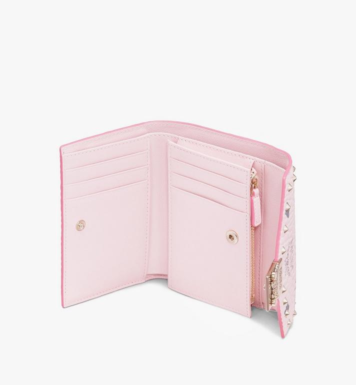 MCM Patricia Trifold Wallet in Studded Visetos Pink MYS9APA31QH001 Alternate View 3