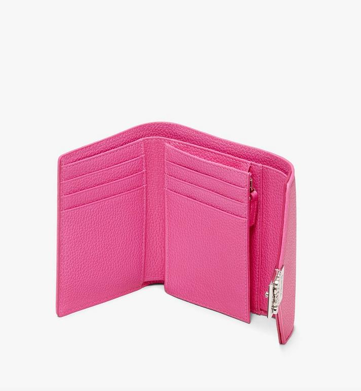 MCM Patricia Three-Fold Wallet in Park Avenue Leather Pink MYS9APA43QS001 Alternate View 3