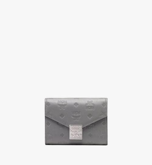 กระเป๋าสตางค์พับสามทบ Patricia ทำจากหนังพิมพ์ลายโมโนแกรม