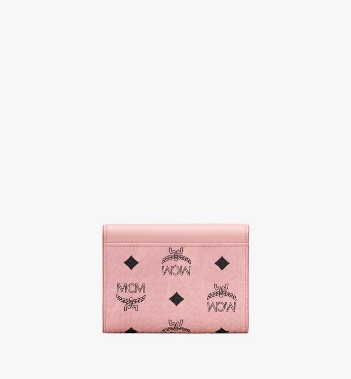 MCM Patricia Three-Fold Wallet in Love Patch Visetos Pink MYS9APA62PZ001 Alternate View 2