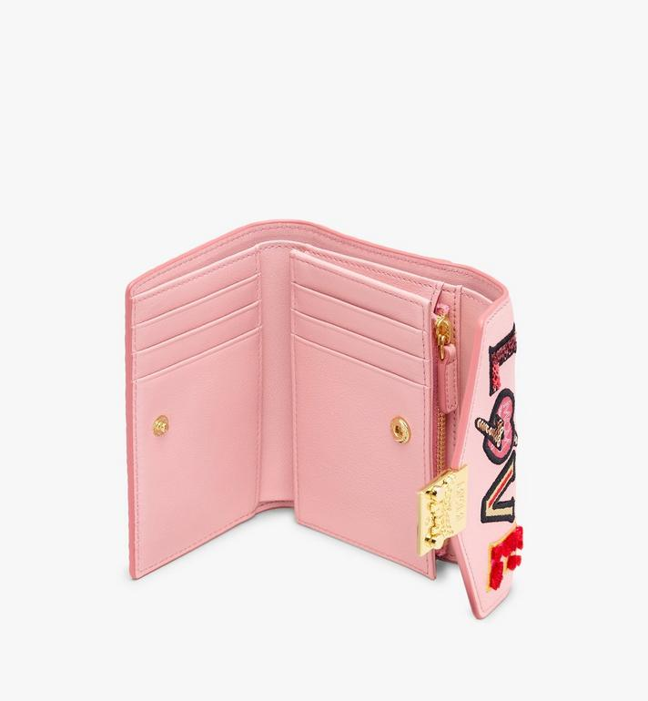MCM Patricia Three-Fold Wallet in Love Patch Visetos Pink MYS9APA62PZ001 Alternate View 3