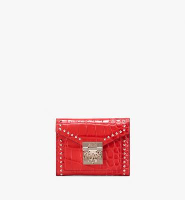 Patricia Three-Fold Wallet in Embossed Crocodile