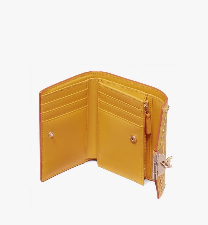 MCM Patricia Three-Fold Wallet in Embossed Crocodile Yellow MYS9APA64YJ001 Alternate View 3