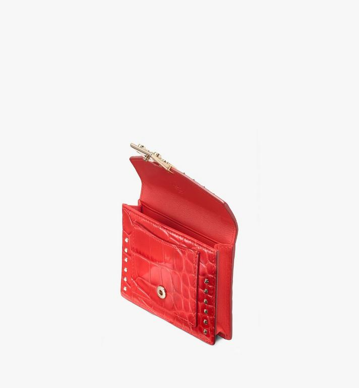 MCM Patricia Mini Wallet in Embossed Crocodile Red MYS9APA65RU001 Alternate View 3