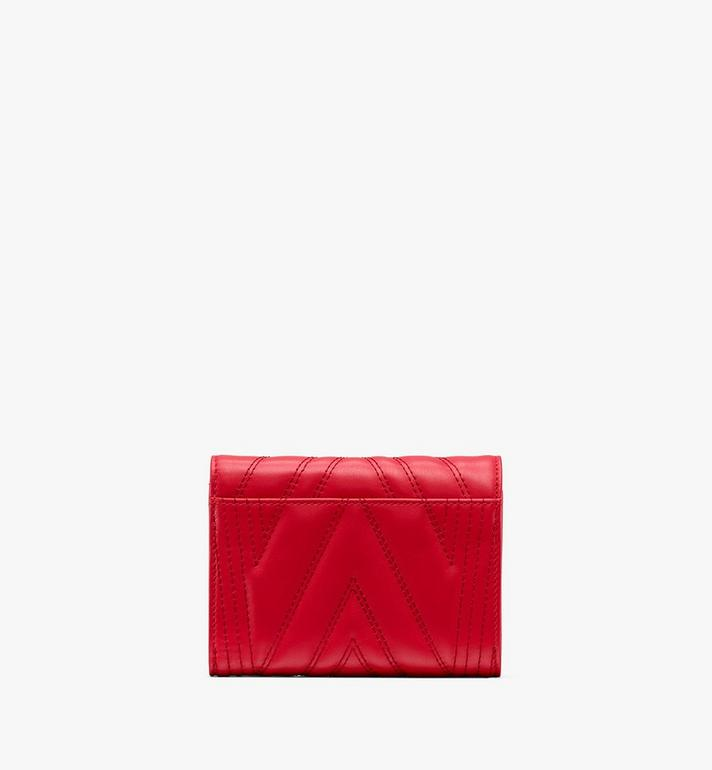 MCM Patricia Three-Fold Wallet in Quilted Leather Red MYS9APA83RU001 Alternate View 2