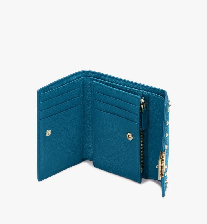 MCM Patricia Trifold Wallet in Studded Park Ave Leather Blue MYS9APA93JF001 Alternate View 3