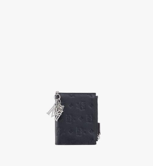 Flache gefaltete Brieftasche aus Leder mit Monogramm Anhänger