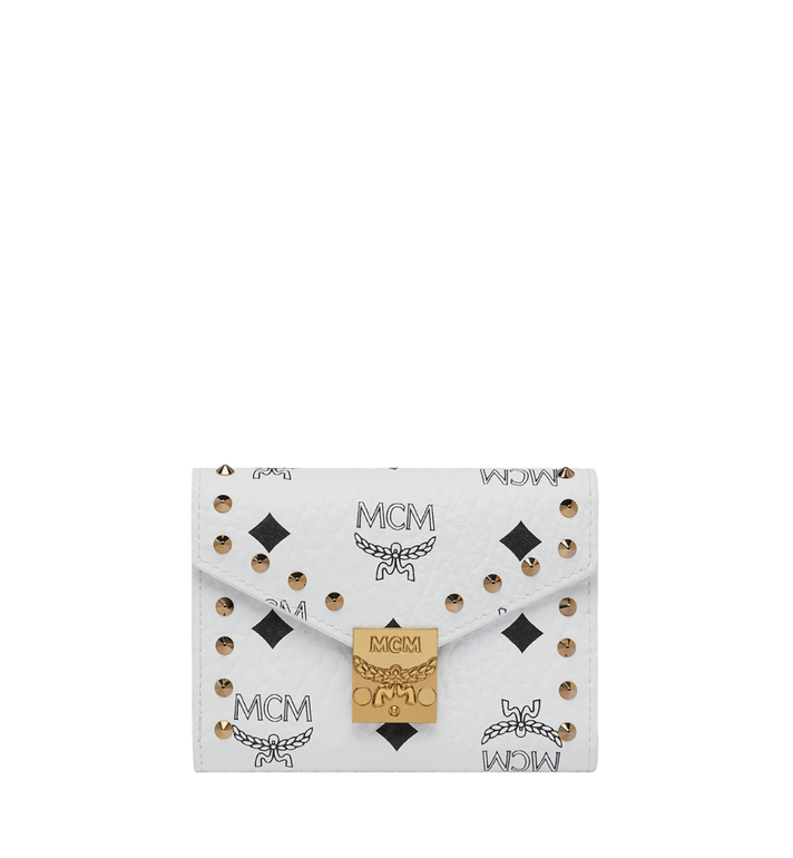 MCM Patricia Three Fold Wallet in Studded Outline Visetos Alternate View