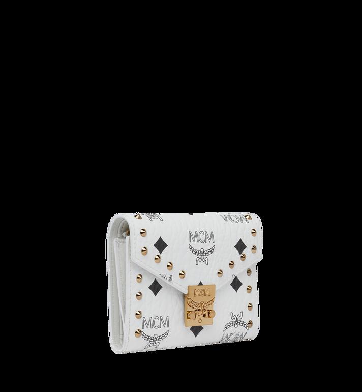 MCM Patricia Three Fold Wallet in Studded Outline Visetos White MYS9SPA31WT001 Alternate View 2