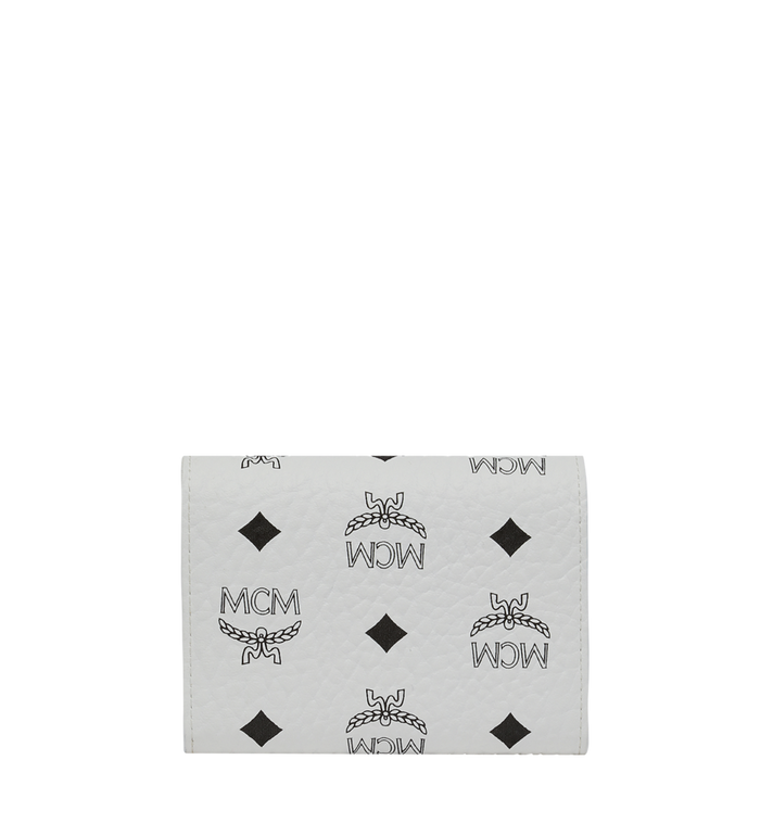 MCM Patricia Three Fold Wallet in Studded Outline Visetos White MYS9SPA31WT001 Alternate View 3