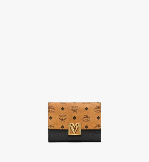 กระเป๋าสตางค์พับสามทบ Mena ลาย Visetos วัสดุหนัง สีคัลเลอร์บล็อก