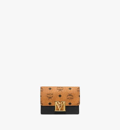 กระเป๋าใส่บัตรทรงแอคคอร์เดียน Mena ลาย Visetos วัสดุหนัง สีคัลเลอร์บล็อก